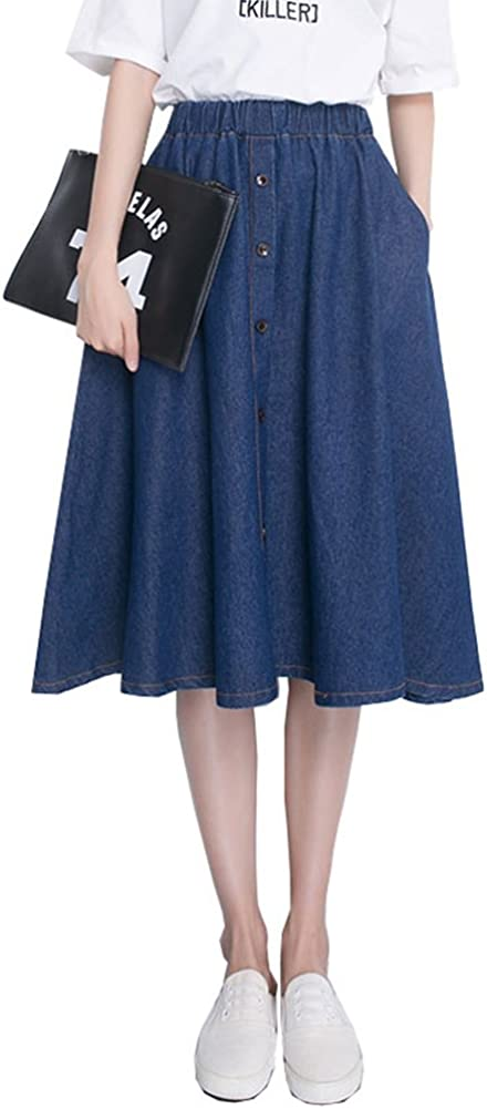 Summer Women Denim Skirts A Line Knee Length Pleated Elastic Waist Casual Jeans Skirt Oversize