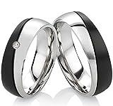 frencheis Eheringe Verlobungsringe Trauringe Ringe aus Edelstahl mit Diamant und Ihrer persönlichen Gravur B347