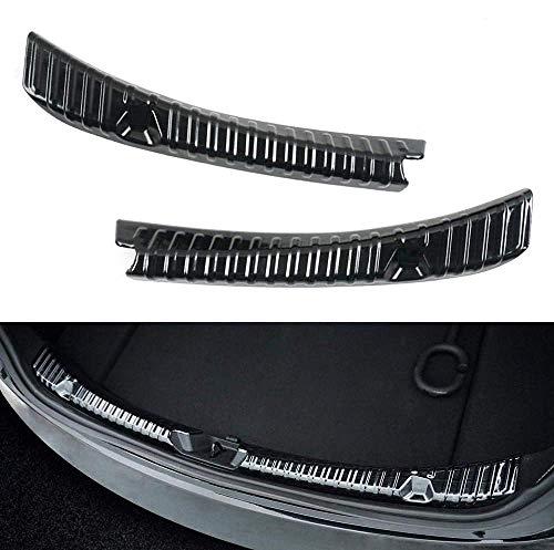 Model 3 Ladekantenschutz Edelstahl Chrom Kofferraum Stoßstangenschutz Heckstoßstange Protector Guard für die hinteren Kofferraumwanne (Schwarz)