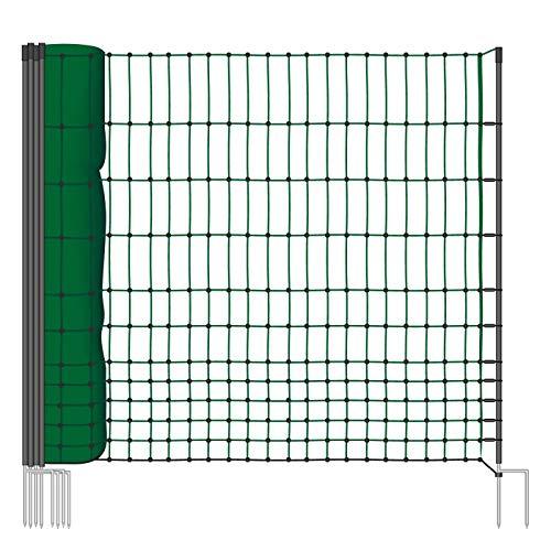 VOSS.farming Geflügelnetz 112cm Classic 50m, Hühnerzaun Geflügelzaun Hühnernetz, 16 Pfähle 2 Spitzen, Grün, ohne Strom