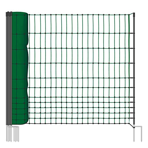 VOSS.farming 50m Geflügelnetz, Classic, 112 cm Netzhöhe, Hundenetz, Katzennetz, Gartensicherung, Weidezaun
