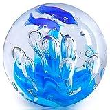 EUSTUMA Figura de Esfera Azul de Vidrio soplado a Mano, Bola de Vidrio de pisapapeles Azul,colección de mar para Regalo de cumpleaños, pisapapeles de Vidrio (Bola de Burbujas de Coral)