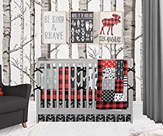 Crib Bedding Set - Woodland Adventure - 4 Piece Crib Bedding Set Red and Black Plaid and Gray Deer and Arrows Set by Twig + Bird - Handmade in America