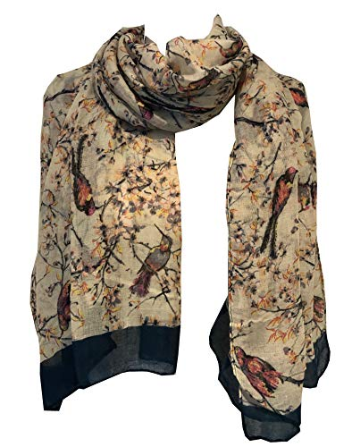 Pamper Yourself Now Beige mit schwarz/pink Vogel im Busch Schal (Beige with black/pink bird in bush scarf)