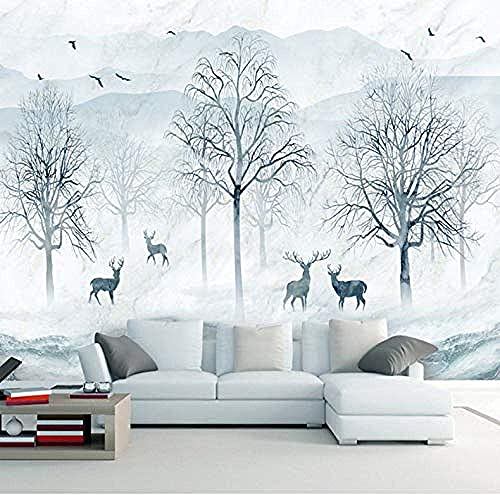 Life Accessories Mural 3D Nordic Abstract Forest Moose Background Wall Decoration Waterproof Wall Covering 3D