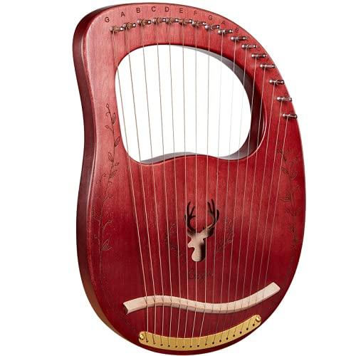 16Key Harp Lyre Harp Massivholz Mahagoni mit Tragetasche, tragbarer professioneller 16Key lyra, passend für Kindergeschenke für Innen und Außenmusikliebhaber