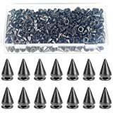 HELIFOUNER 200 Pieces 7mm x 9.5mm Black Bullet Cone Spikes and Screw Back Studs for DIY Leather Craft