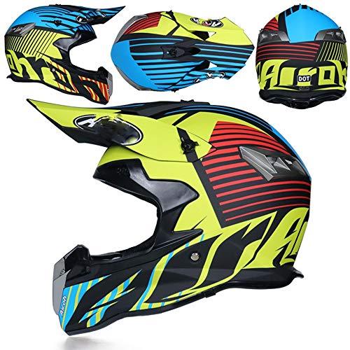 Erwachsenen Motocross Helm MX Motorrad Helm ATV Roller ATV Helm D.O.T Certified Rockstar Multicolor mit Schutzbrille Handschuhe Maske (S, M, L, XL, XXL),S