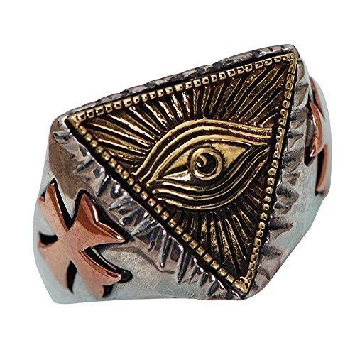 Two Tone 925 Sterling Silver Freemason Masonic All Seeing Eye Ring for Men Women Adjustable Size 8-11