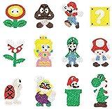 12pcs Diamond Painting Stickers Kits for Kids,DIY Mario Bros Handmade Art Craft Rhinestone Role Stikcers for Kids,Mario Brother Super Mario Themed Diamond Art by Numbers Kits
