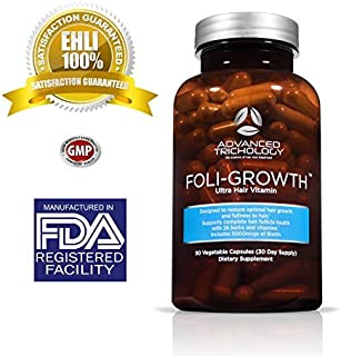 FoliGrowth Clinical Strength Hair Growth Vitamin - High Potency Biotin- 90 Capsules - for Men and Women by Advanced Trichology