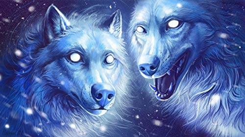 keletop 1000 Piezas de Madera Puzzle_Wolf Fantasy Art_Jigsaw Anime Juguetes Juguetes educativos Juguetes Infantiles Rompecabezas_50x75cm