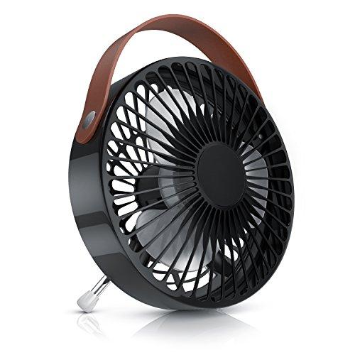 CSL - Ventilador USB - Ventilador de Mesa USB Desk Fan Ventilador de Escritorio - Silencioso máx. 48 dB A - Interruptor de Encendido Apagado - Inclinable Aprox. 30 Grado - 2200 por Minuto RPM - Negro