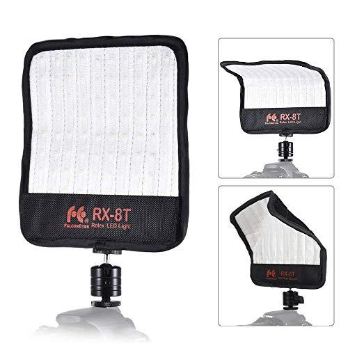 Fomito Falconeyes RX-8T Faltbares Roll-Flex-LED-Beleuchtungskit 5600K CRI95 Flexible Stoffbefestigung an der Kameralampe Tageslicht Spritzwassergeschützt für Videostuido-Fotografie-Beleuchtung