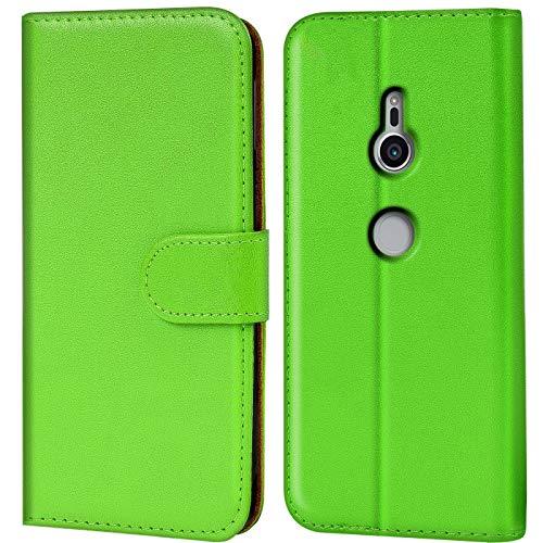 Verco Xperia XZ2 Hülle, Handyhülle für Sony Xperia XZ2 Tasche PU Leder Flip Hülle Brieftasche - Grün