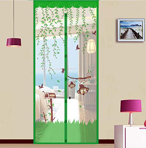 N / A Summer home mesh gauze net anti-mosquito fly curtain automatic closing magnet soft screen door kitchen curtain door screen A2 W90xH210