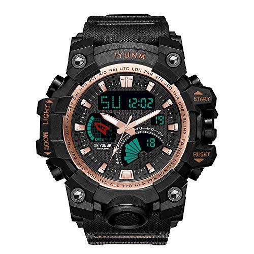 Reloj digital /puntero para hombre, reloj deportivo militar, reloj despertador / cronómetro, luz fondo LED, reloj de pulsera impermeable para exteriores, analógico, relojes electrónicos esfera grande