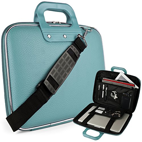 eBigValue Vegan Leather Ann Cube Carrying Blue Shoulder Bag with Handles for 13.3 inch to 14 inch Tablets, 2in1, Ultrabooks Netbooks