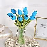 Sonze 10 Piezas de Flores de simulación de Tulipanes, Mini Ramo Artificial-Azul,Flores Artificiales Decoracion jarrones,Resistentes a los Rayos Ultravioleta