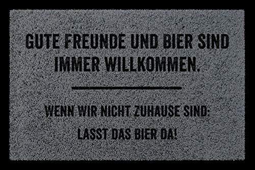Interluxe SCHMUTZMATTE Fußmatte Gute Freunde UND Bier Willkommen Männer-WG Einzug Geschenk Dunkelgrau