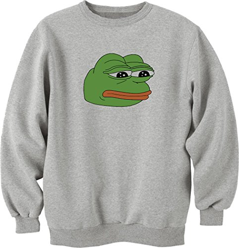 Nothingtowear Pepe sad Frog Funny Meme Sweatshirt Pullover grau (XXL)