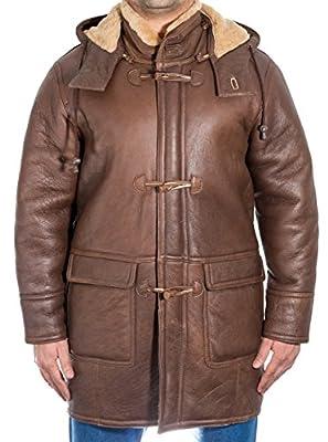 Mens Brown Real Shearling Ginger Sheepskin Fur _ Duffle Coat with Detachable Hood