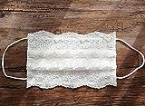 Kommunion Kinder Maske 3-lagig Medizinisch Vliesmaske mit Filter Mundmaske Gesichtsmaske verziert Spitze ivory nicht waschbar
