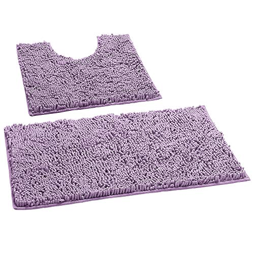 LuxUrux Bathroom Rugs Luxury Chenille 2-Piece Bath Mat Set, Soft Plush Anti-Slip Bath Rug +Toilet Mat.1'' Microfiber Shaggy Carpet, Super Absorbent