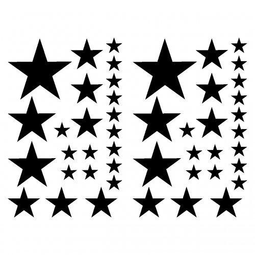 Samunshi® Sterne Aufkleber Set gefüllt Autoaufkleber 14x2,5cm6x5cm2x7,5cm1x10cm schwarz