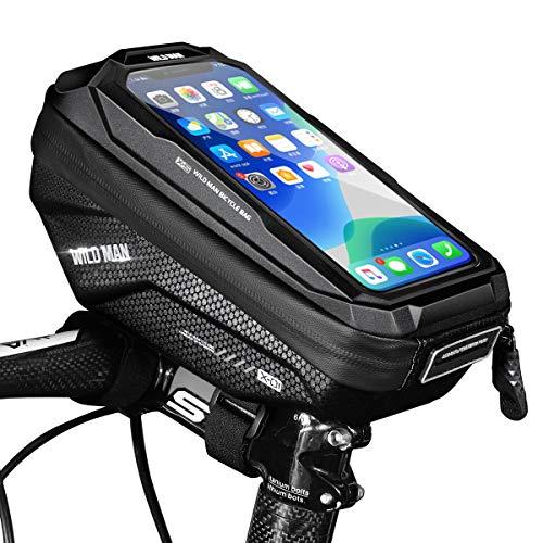 Faneam Impermeable Bolsas de Bicicleta Gran Capacidad Bolsa para Manillar Bici Bolsa Manillar Bicicleta Cuadro con Pantalla Táctil Bolsa Cuadro Bici Soporte Telefono hasta 6,5 Pulgadas(Negro)
