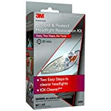 3M Auto Restore and Protect Headlight Restoration Kit, Clearer Headlights in 2 Easy Steps, 39194