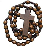 Rosaries For Men | Mens Dark Brown Wooden Rosary Beads | Corded Rosaries with Crucifix (Wood Dark Brown)