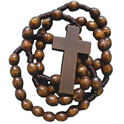 Rosaries For Men   Mens Dark Brown Wooden Rosary Beads   Corded Rosaries with Crucifix (Wood Dark Brown)