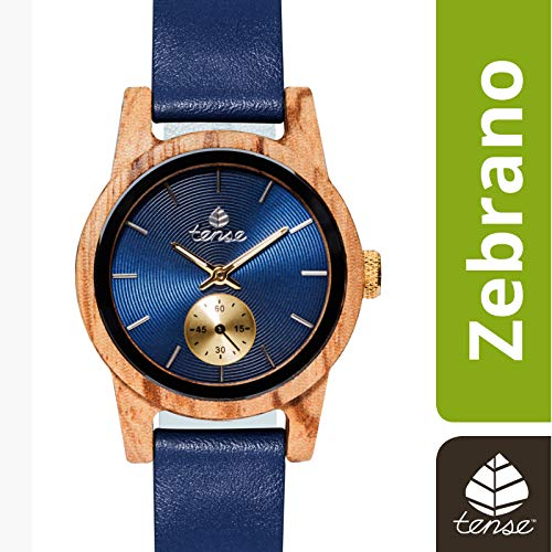 TENSE Premium // Hampton - Zebranoholz - Herren Holz-Uhr M4701Z-BL