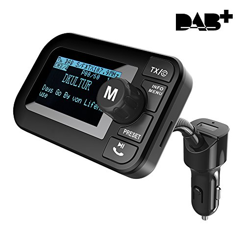 "FirstE DAB Autoradio Kristall Sound Car Kit, 2.3"" DAB Transmitter Tragbar DAB+ Digitales Radio Adapter mit Bluetooth Freisprechanruf FM Transmitter+Aux Out+USB KFZ Ladegerät+TF Musik Spielen"