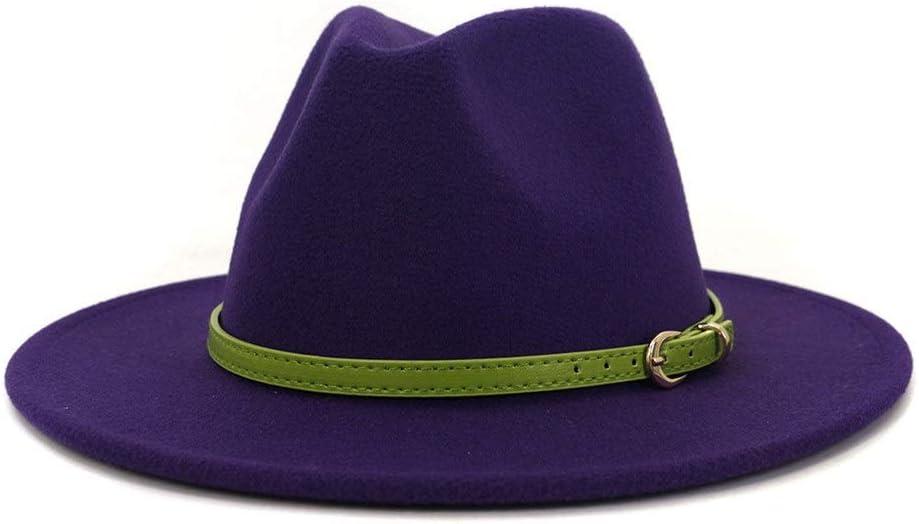 LHZUS Hats Men Women Felt Fedora Hat Jazz Hat Cotton Church Belt Autumn Winter Simple Wide Brim Flat Top Hat (Color : Purple, Size : 59-60cm)