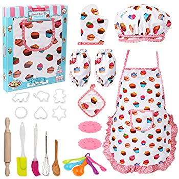 Vanmor Cute Kids Cooking and Baking Set 24 Pcs Kids Aprons for Girls Toddler Chef Hat Apron Dress Up Chef Costume  Little Girl Apron Set Pretend Play Cooking Baking Gifts for 3 Year Old Girls