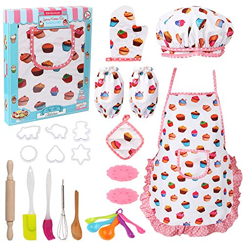 Vanmor Cute Kids Cooking and Baking Set, 24 Pcs Kids Aprons for Girls Toddler Chef Hat Apron Dress Up Chef Costume , Little Girl Apron Set Pretend Play Cooking Baking Gifts for 3 Year Old Girls