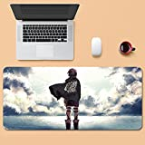 Showkig Hange Zoe Gaming Mouse Pad, Computer Mouse Pad Attack On Titan, Non-Slip Rubber Pad, Anime Mouse Pad, Multifunctional Desk Pad (Color : 900mm400mm, Size : 3mm)