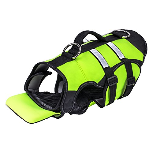 Pawaboo Dog Life Jacket, Duarable Adjustable Soft Padded Reflective Neoprene Pet Life Saver Vest Coat Life Preserver with Handle on TOP for Dog or Cat, Medium Size, Fluorescence Green and Black