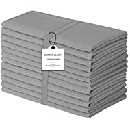 Cotton Clinic Cloth Dinner Napkins – Perfect Everyday Use Table Linen – Soft Durable Washable – Ideal for Party Wedding Farmhouse Christmas Easter – Set of 12 (20x20 in/Grey)