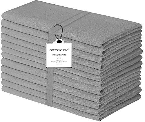 Baumwolle-Klinik 12er-Set Stoffservietten 44x44 cm, Servietten Hochzeit, Weich Gemütlich Maschinenwaschbar 100% Baumwolle Servietten Grau