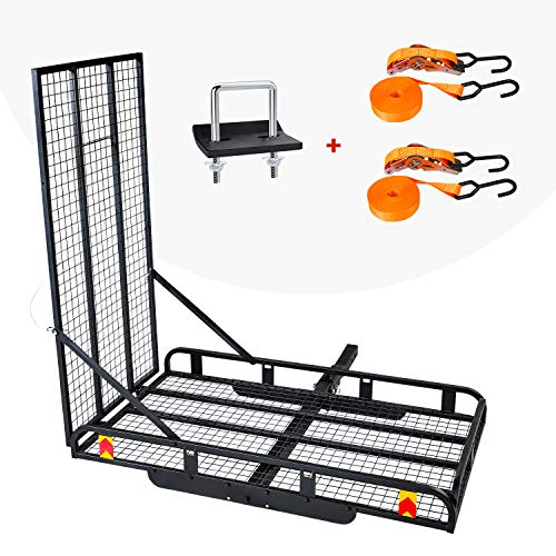 AA Products Hitch Mount Steel Cargo Carrier Basket with 49'' Folding Wheelchair Ramp, Fits 2'' Trailer Mounted Hitches
