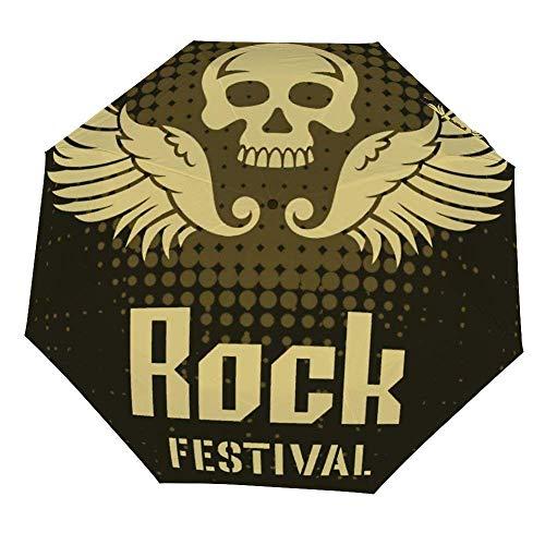Faltbarer Regenschirm, Rock-Festival-Plakat-Vorlage, winddichter Regenschirm, leicht, kompakt, für den Außenbereich, Sonne und Regen