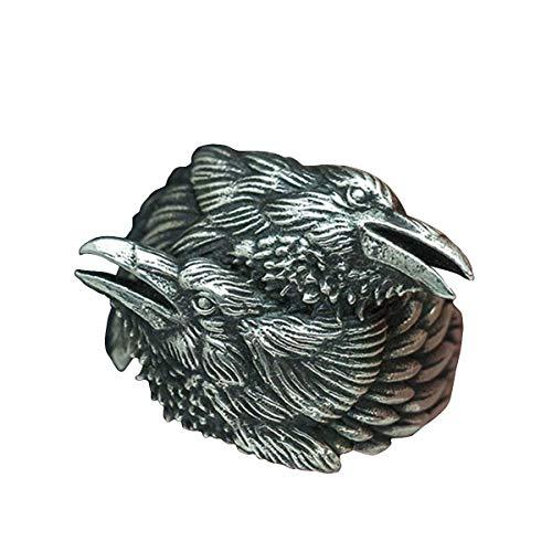 NA Nueva Tienda Anillo de Acero Inoxidable 316L Hombres Vikingos Anillo de Dos Cuervos entrelazados Mitología nórdica Color Plata Odin Crow Anillos de Acero Inoxidable Joyería de Amuleto nórdico
