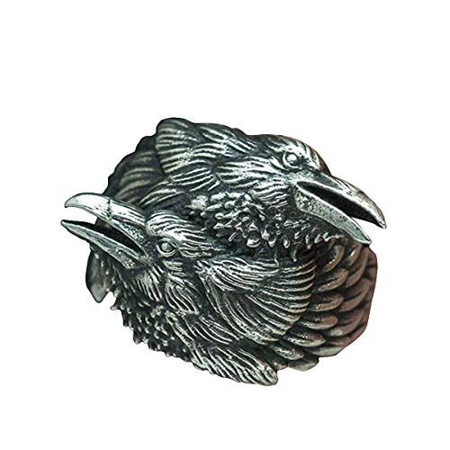 New Store 316L Stainless Steel Ring Viking Men Two Entwined Ravens Ring Norse Mythology Silver Color Odin Crow Stainless Steel Rings Nordic Amulet Jewelry
