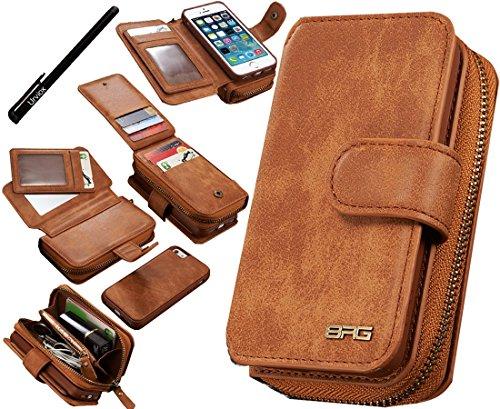 Urvoix iPhone SE 5S 5 Hülle, Premium Leder Reißverschluss Geldbörse Multifunktionale Handtasche Abnehmbare, abnehmbare magnetische Tasche mit Flip-Kartenhalter-Abdeckung für Apple iPhone 5 5S SE