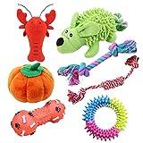 Fushida - Set di 7 giocattoli da masticare per cani e cuccioli, resistenti e in peluche, lavabili per la pulizia dei denti interattivi e alleviano la noia