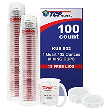 Full Case of 100 each - Quart  32oz  PAINT MIXING CUPS  by Custom Shop - Cups are Calibrated with Multiple Mixing Ratios  1-1   2-1   3-1   4-1   8-1  BOX of 100 Cups includes 12 bonus Lids