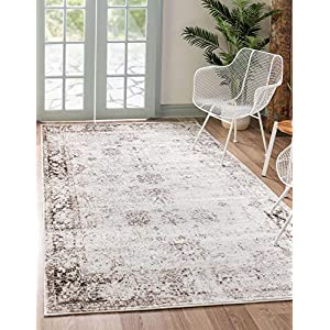 Unique Loom Sofia Collection Traditional Vintage Area Rug, 9′ x 12′, Ivory/Brown